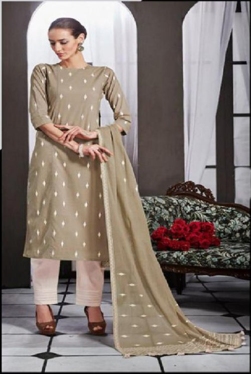 Intrigue Presents Handwork Collection Pure Cotton Print With Hand Work Suit 4449