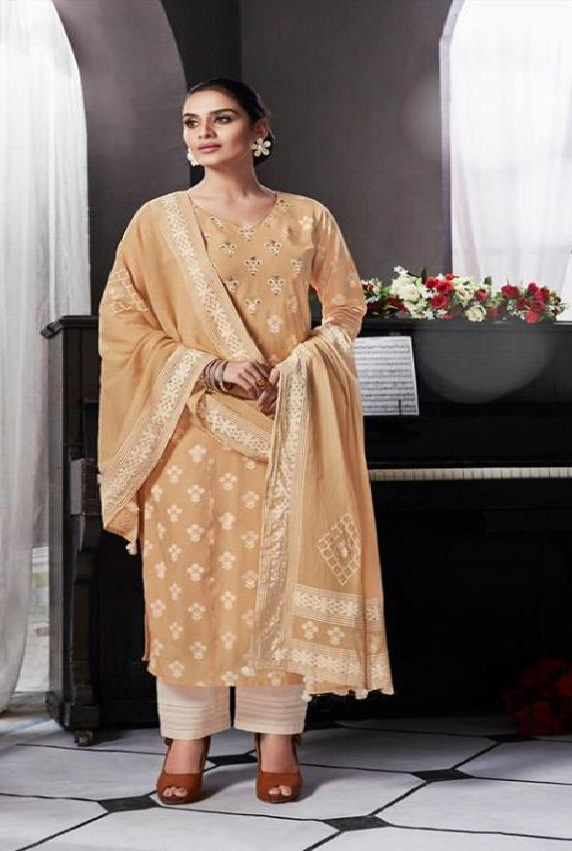 Intrigue Presents Handwork Collection Pure Cotton Print With Hand Work Suits 4445