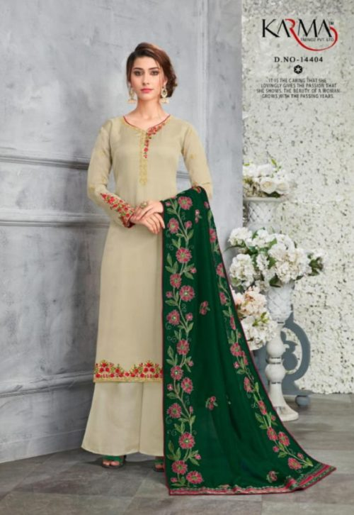 Karma Presents Heavy Dupatta Satin Georgette Embroidered Salwar Suit 14404