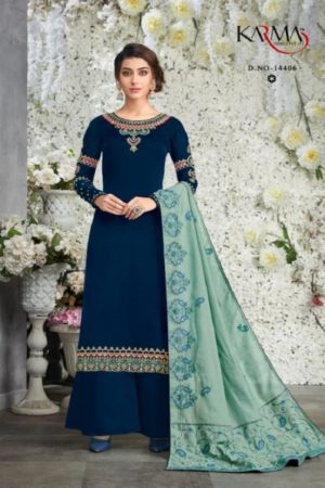 Karma Presents Heavy Dupatta Satin Georgette Embroidered Salwar Suit 14406