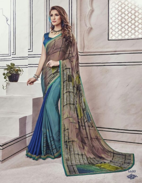 Kessi Fabric Presents Akshita Black Chineese Chiffon Handprinted with Fancy Lace Saree 6610