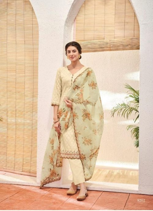 Kimora Heer 49 Pure Jacquard Cotton With Daman Embroidery suits 9202