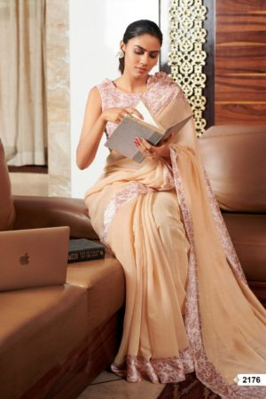 Lt Fabrics Presents Vama Soft Linen with Printed Border Saree 2176