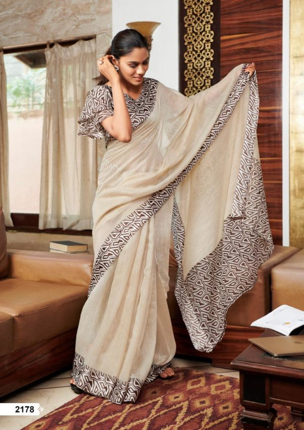 Lt Fabrics Presents Vama Soft Linen with Printed Border Saree 2178