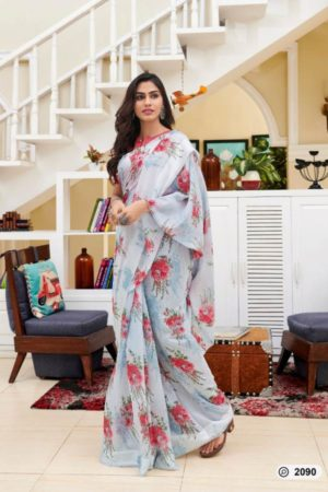 Lt Presents Flora Designer Fancy Soft Linen Printed Saree 2090