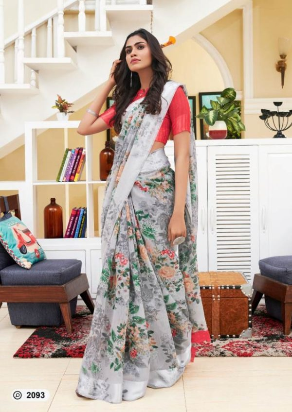 Lt Presents Flora Designer Fancy Soft Linen Printed Saree 2093