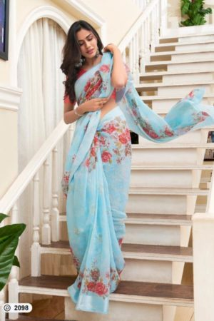 Lt Presents Flora Designer Fancy Soft Linen Printed Saree 2098