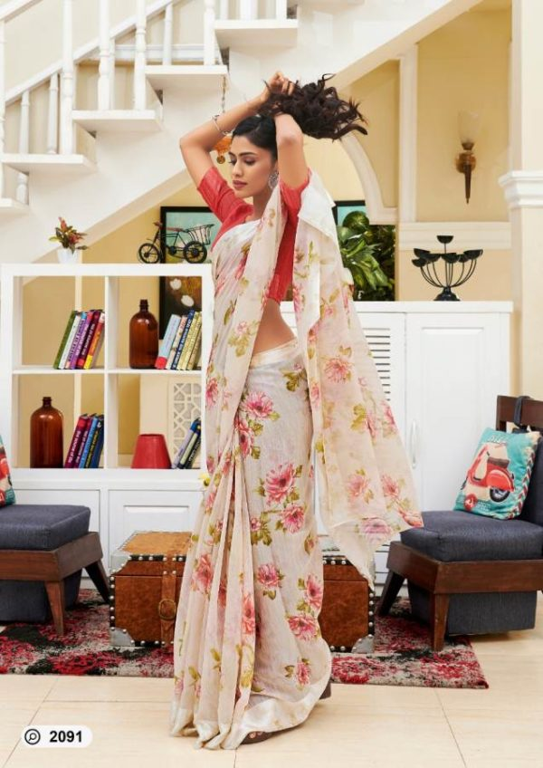 Lt Presents Flora Designer Fancy Soft Linen Printed Sarees 2091
