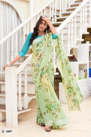 Lt Presents Flora Designer Fancy Soft Linen Printed Sarees 2097