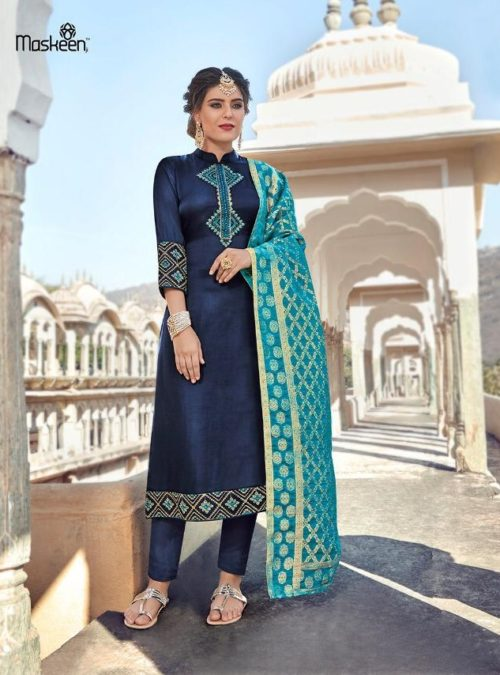 Maisha Presents Maskeen Harleen Satin Georgette With Work Party Wear Suit 7801