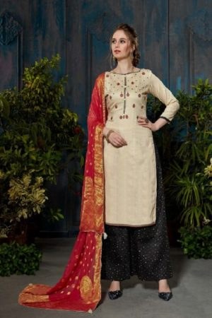 Rupali Fashion Presents Festive Collection Heavy Jam Satin Negative Print Embroidered Suit 102
