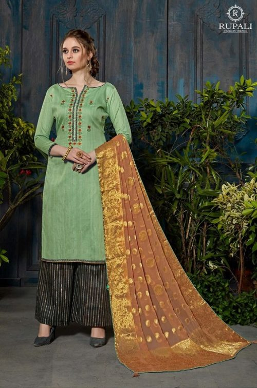 Rupali Fashion Presents Festive Collection Heavy Jam Satin Negative Print Embroidered Suit 105