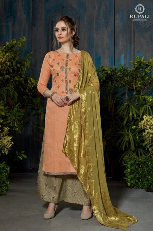 Rupali Fashion Presents Festive Collection Heavy Jam Satin Negative Print Embroidered Suits 106