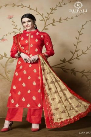 Rupali Presents Royal Look 2 Heavy Jam Satin with Foil Print Salwar Suit 207