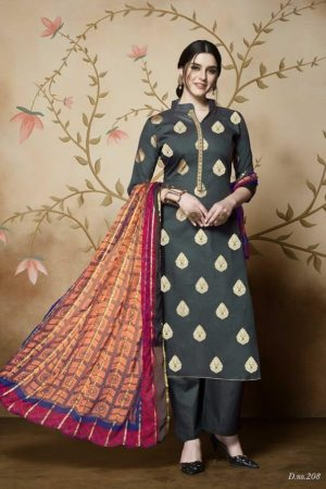 Rupali Presents Royal Look 2 Heavy Jam Satin with Foil Print Salwar Suit 208