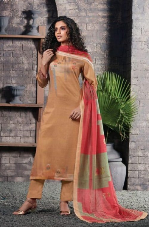 Sahiba Presents Itrana Chevron Cotton Satin With Digital Print And Embroidery Suits 342