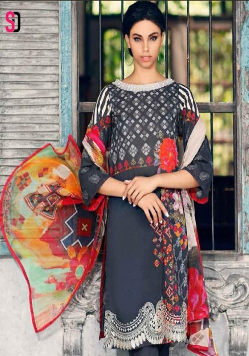 Sharaddha Designer Charizma Black And White Collection Pure Cotton Printed Suits 1006