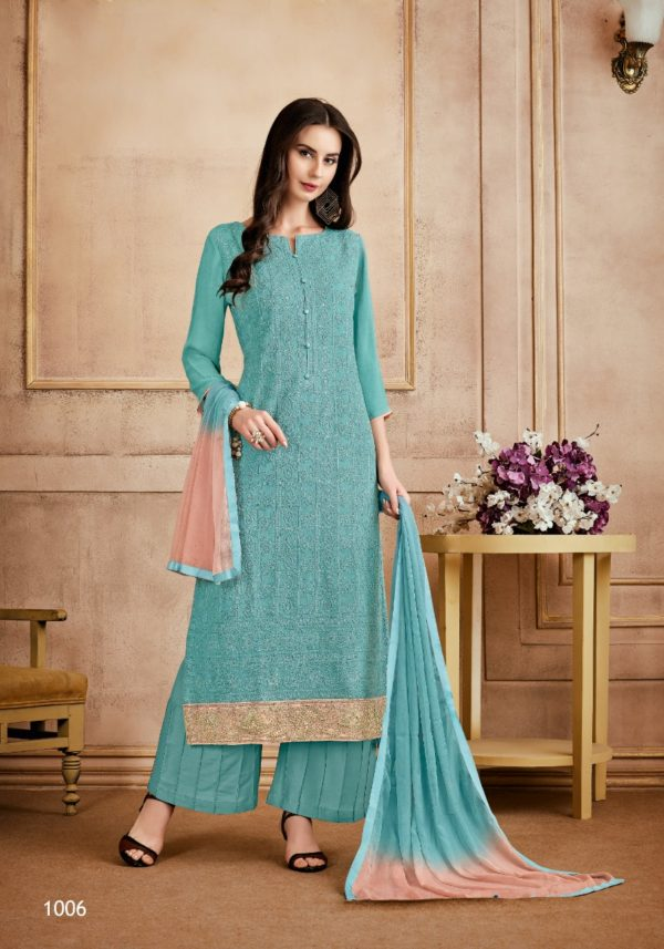 Sri Sanjh Suhana Viscose Bemberg Georgette With Heavy Hand Work Salwar Suit 1006