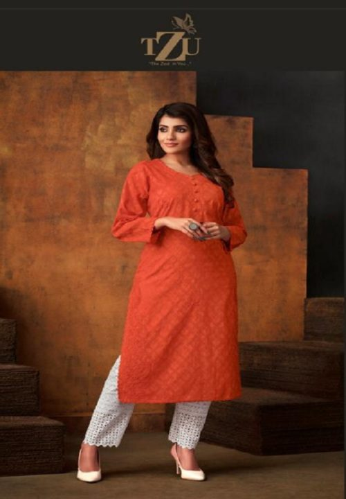 TZU Life Style Presents Colours Cotton Jacquard Self Embroidery Kurti 1002