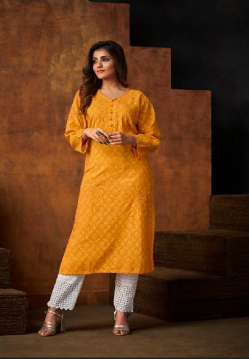 TZU Life Style Presents Colours Cotton Jacquard Self Embroidery Kurti 1006