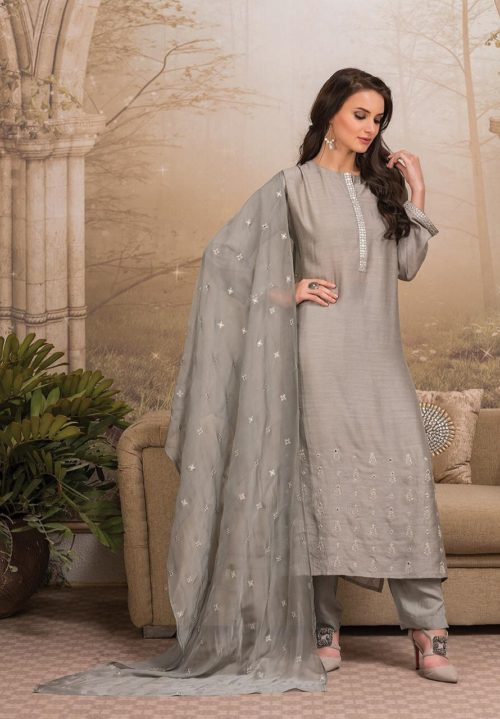 Tacfab Naariti Hits 4 Pure Finest Cotton Silk with Mirror Embroidery Suit SPR-471 B