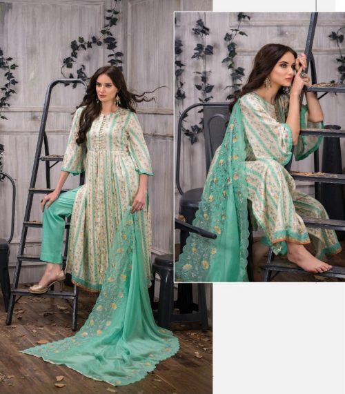 Tacfab Presents Naariti Addah Pure Cotton Print Unstitched Salwar Suit 2264 A