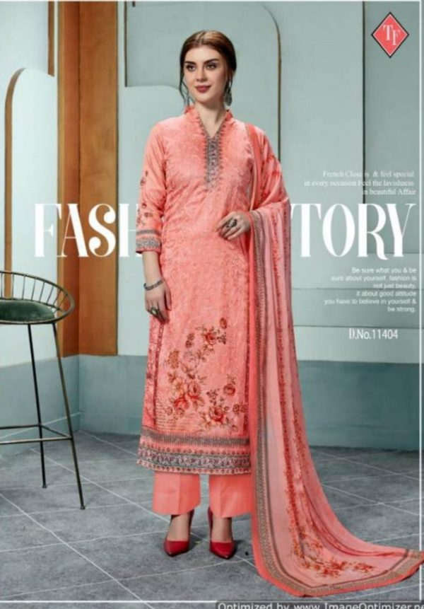 Tanishk Fashion Presents Evelyn Pure Poly Jam Silk With Digital Print & Full Aari Work suits 11404