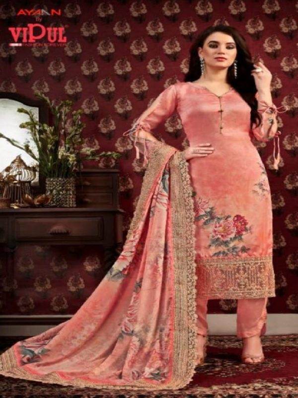 Vipul Fashion Presents Anamika Satin Crepe Digital Print With work Salwar Suits 70124