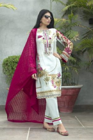 Z S Textile Malkah Festive Embroidered Lawn Collection Pure Lawn With Embroidery Suit ZS-02
