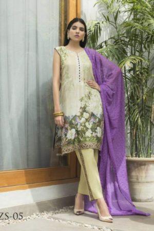 Z S Textile Malkah Festive Embroidered Lawn Collection Pure Lawn With Embroidery Suit ZS-05