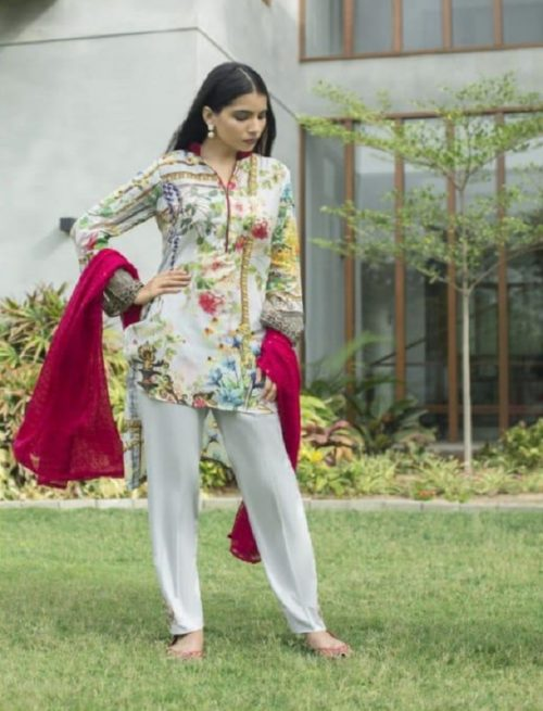Z S Textile Malkah Festive Embroidered Lawn Collection Pure Lawn With Embroidery Suit ZS-09