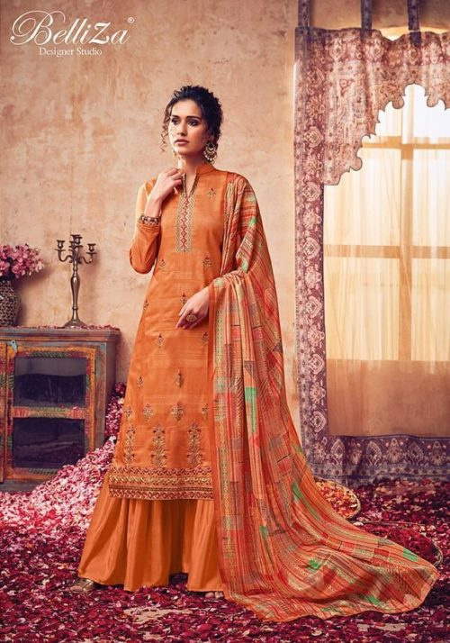 Belliza Designer Studio Presents The Diva Pure Handloom Silk With Fancy Embroidery Work Salwar Suit 306-001