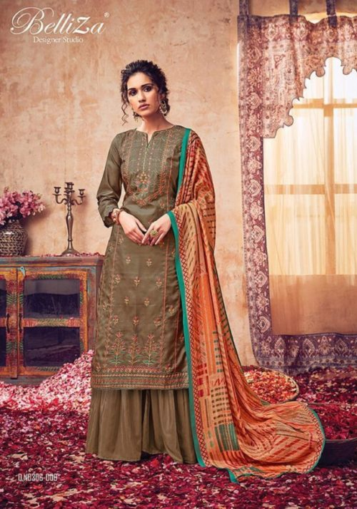 Belliza Designer Studio Presents The Diva Pure Handloom Silk With Fancy Embroidery Work Salwar Suit 306-006
