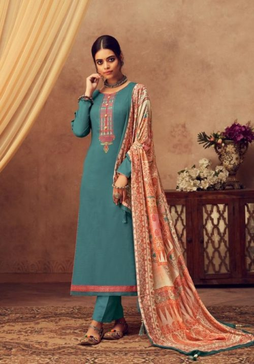 Buy Kesar Karachi Elena Pure Jam Slab Satin With Elegant Embroidery Salwar Suit 1004