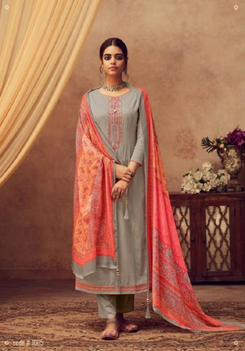 Buy Kesar Karachi Elena Pure Jam Slab Satin With Elegant Embroidery Salwar Suit 1005