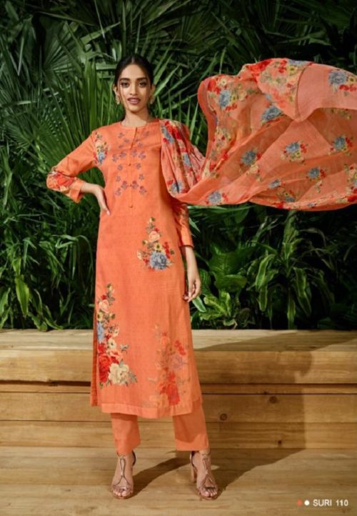 Buy Sahiba Sudriti Suri Cotton Satin Digital Print With Embroidery Salwar Suit 110