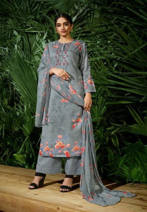 Buy Sahiba Sudriti Suri Cotton Satin Digital Print With Embroidery Salwar Suits 195