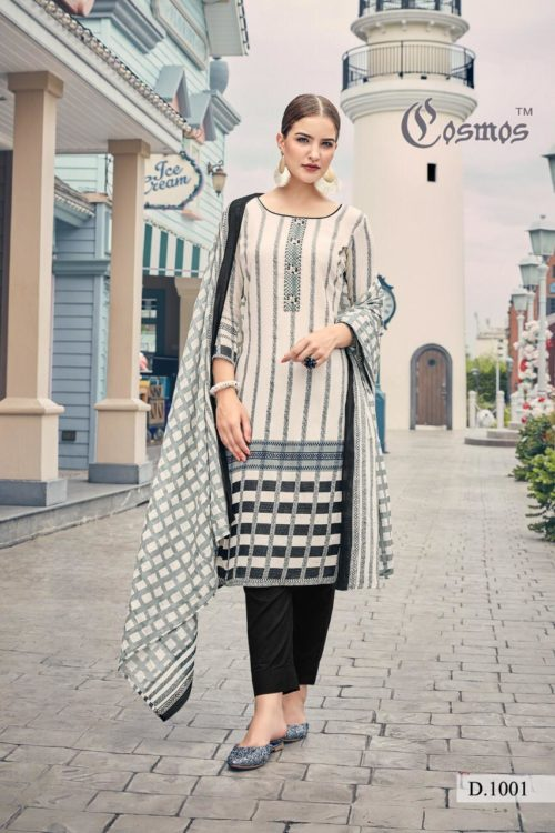 Cosmos Presents Meher Pure Malai Lawn Print With Designer Embroidery Suit 1001