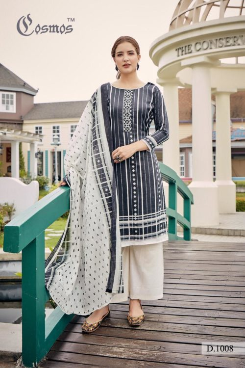 Cosmos Presents Meher Pure Malai Lawn Print With Designer Embroidery Suits 1008