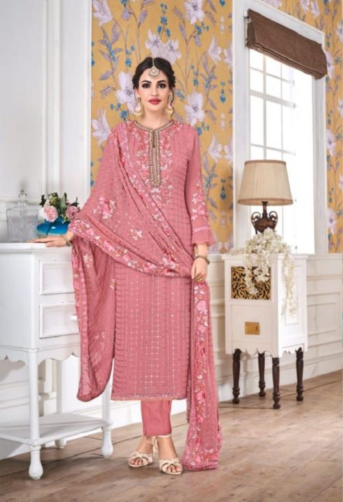 EBA Presents Hurma Vol 15 Faux Georgette with Heavy Embrodiery Work Suit 1078