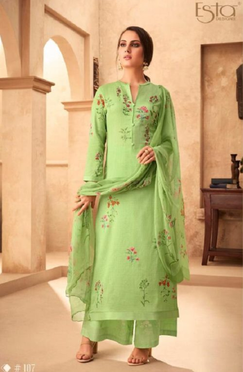 Esta Designs Presents Incense Digital Printed Modal Silk With Handwork Salwar Suits 107