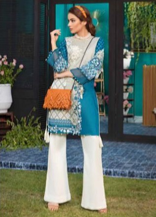 Firdous Solitaire Kurtis 2 Pure Pakistani Cotton Lawn With Embroidery Kurti AGOG 02