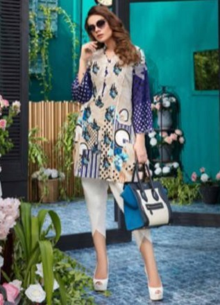 Firdous Solitaire Kurtis 2 Pure Pakistani Cotton Lawn With Embroidery Kurti AGOG 04