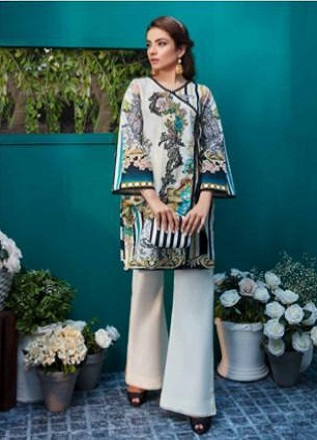 Firdous Solitaire Kurtis 2 Pure Pakistani Cotton Lawn With Embroidery Kurti AGOG 07