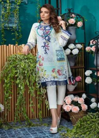 Firdous Solitaire Kurtis 2 Pure Pakistani Cotton Lawn With Embroidery Kurti AGOG 08