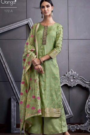 Ganga Present 172 Series Pure Bemberg Silk Banarasi Jacquard Extra Sleeves With Embroidery And Hand Work Suit 172 a