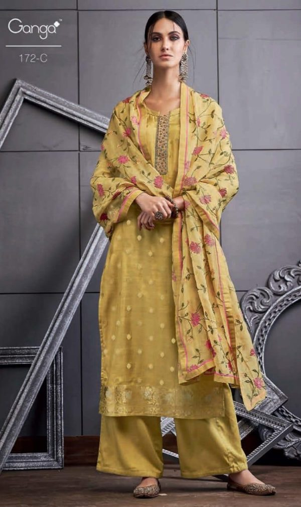 Ganga Present 172 Series Pure Bemberg Silk Banarasi Jacquard Extra Sleeves With Embroidery And Hand Work Suit 172 c
