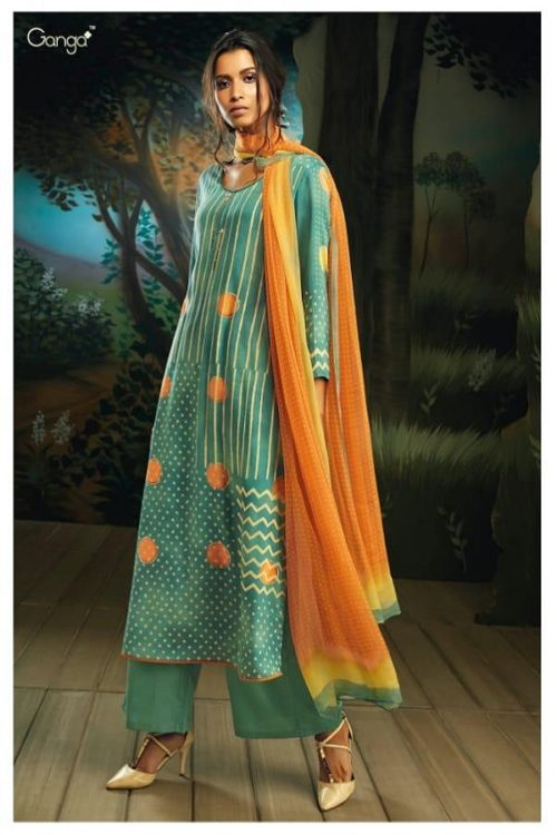 Ganga Presents Willow Pure Natural Satin (Tencel) printed With Extra Sleeves & Handwork Suit 7719