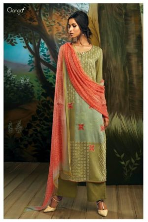 Ganga Presents Willow Pure Natural Satin (Tencel) printed With Extra Sleeves & Handwork Suit 7726