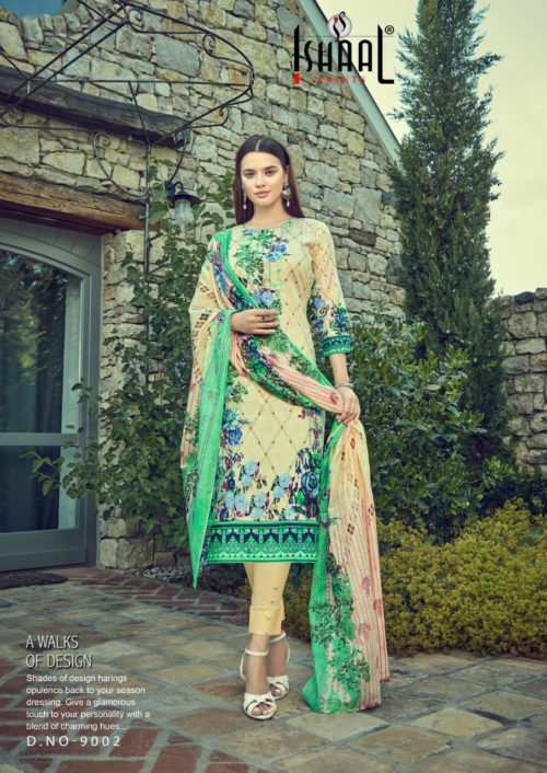 Ishaal Prints Presents Gulmohar Vol 9 Pure Lawn Salwar Suit 9002